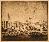 """No. 338, New York, Wolkenkratzer von Brooklyn aus I (groß)"" - 'No. 338, New York, Skyscrapers from Brooklyn I (large)'"