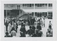 A courtyard scene from an open house for the new VSA building, Hamilton campus, 1963.