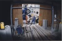 Workers set up to pour concrete during the rennovation of the Concourse Gallery, circa 2000s.