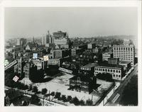Aerial view of Downtown Vancouver, with streets labeled and location of Hamilton campus indicated, [circa 1960s?]