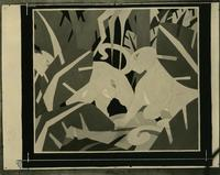 Animals in painted jungle scene, date unknown.